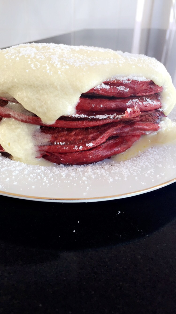 Red Velvet Ricotta Buttermilk Pancakes