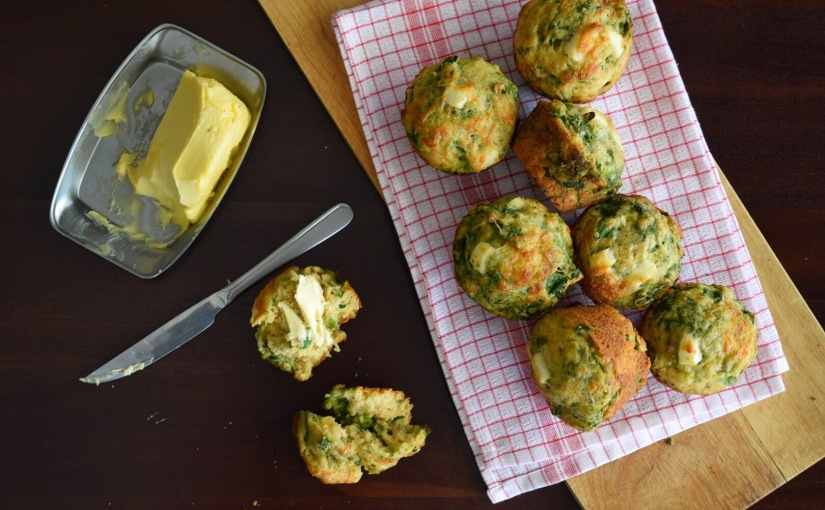 Spinach and Feta Pesto Muffins
