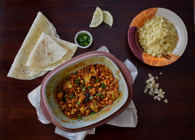 Moroccan Chickpea and Roasted Cauliflower Tagine