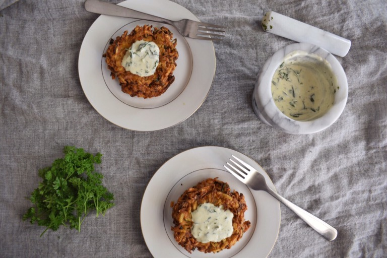 Curry Vegetable & Potato Latkes with Herbed Yoghurt
