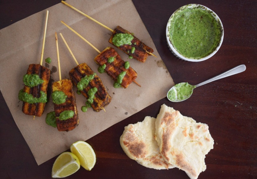 Tandoori Spiced Halloumi Skewers with Mint Sauce
