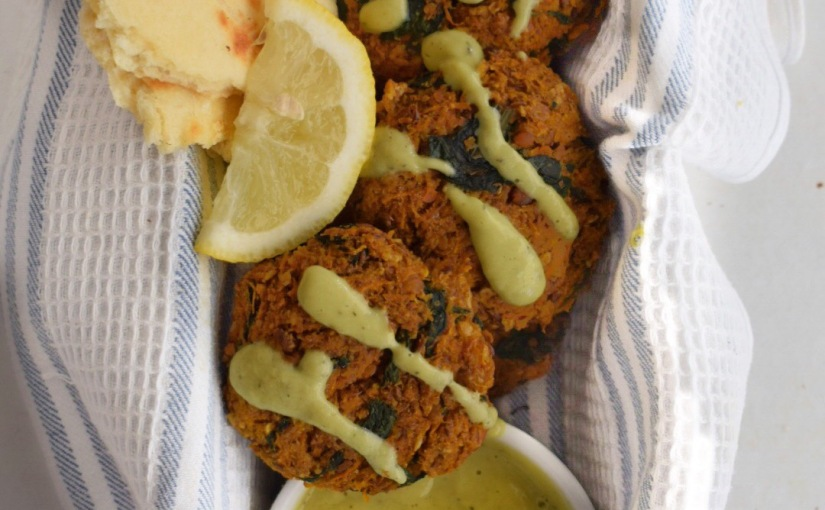 Spicy Carrot Spinach Cakes with Avocado Dressing
