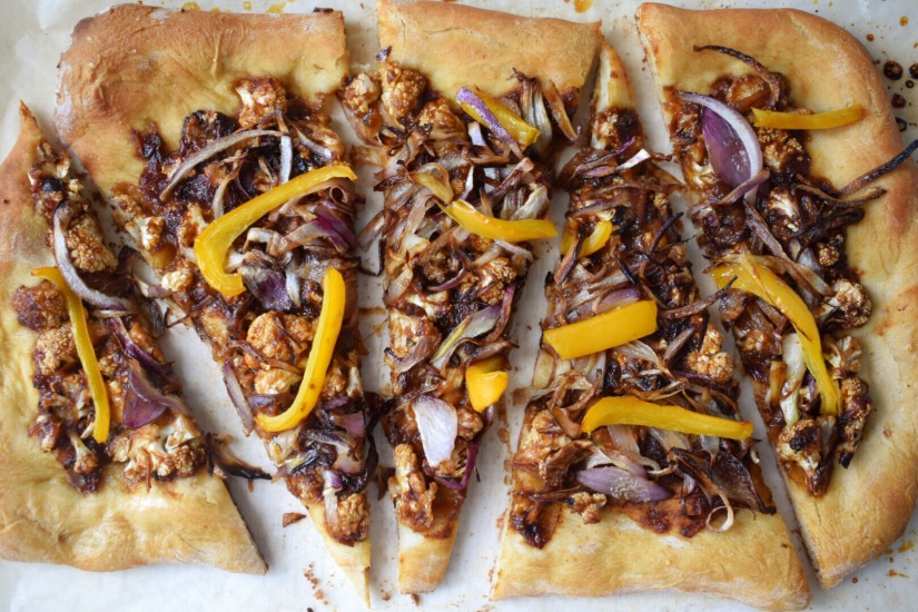 Roasted Cauliflower BBQ Vegan Pizza