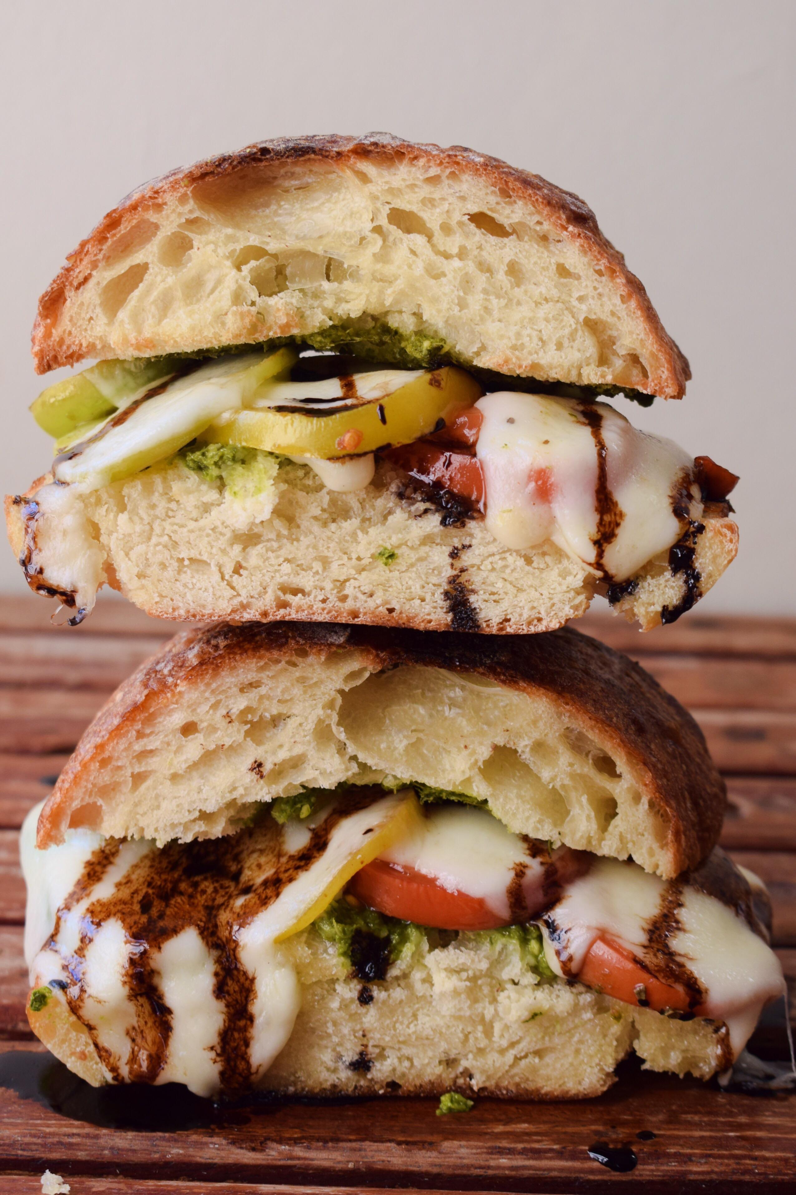 Marinated Tomato and Mozzarella Caprese Ciabbata Sandwich – Life is ...