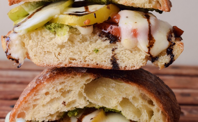 Marinated Tomato and Mozzarella Caprese CiabbataSandwich